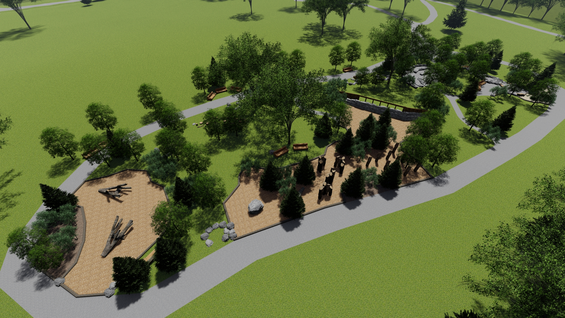 Rendering of an environmental playground at Island Lake Conservation Area