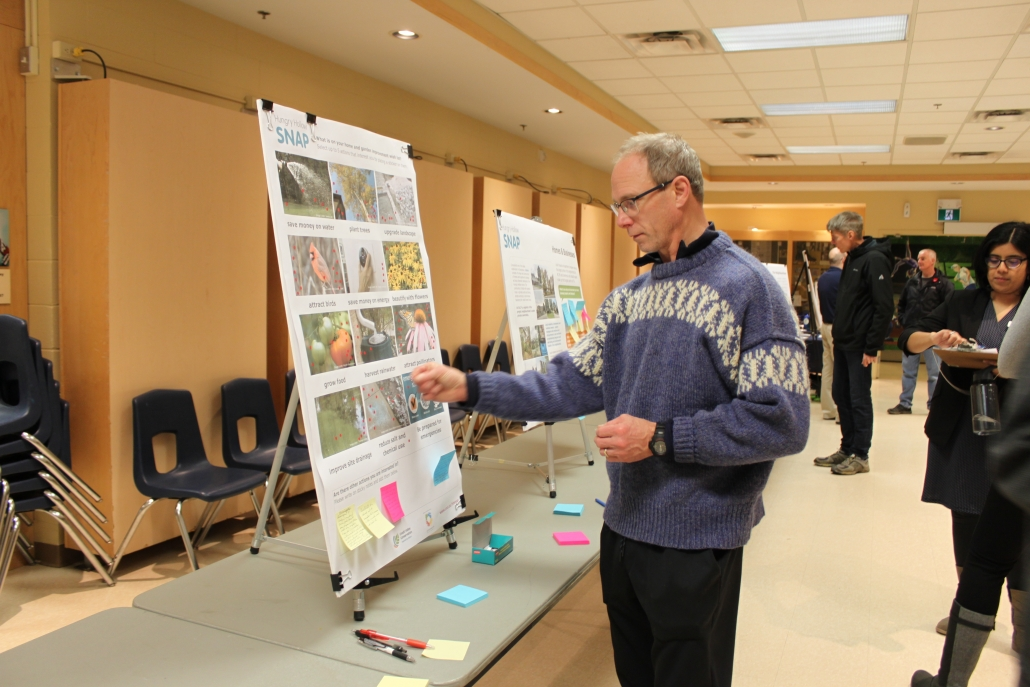Man viewing a flipchart at a Sustainable Neighbourhood Action Plan event